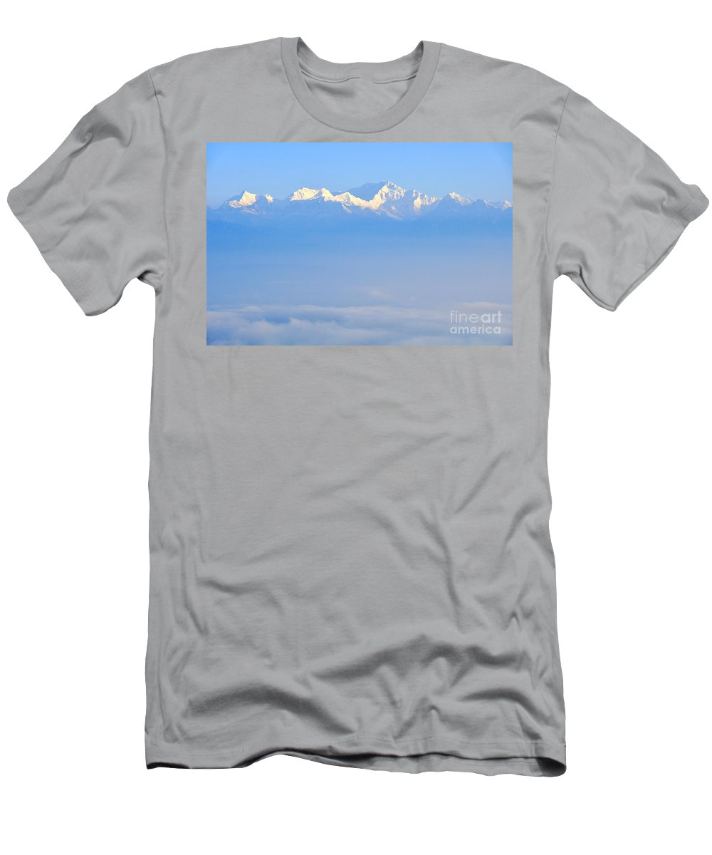 India Men's T-Shirt (Athletic Fit) featuring the photograph Snow Capped Himalayas by Judith Katz