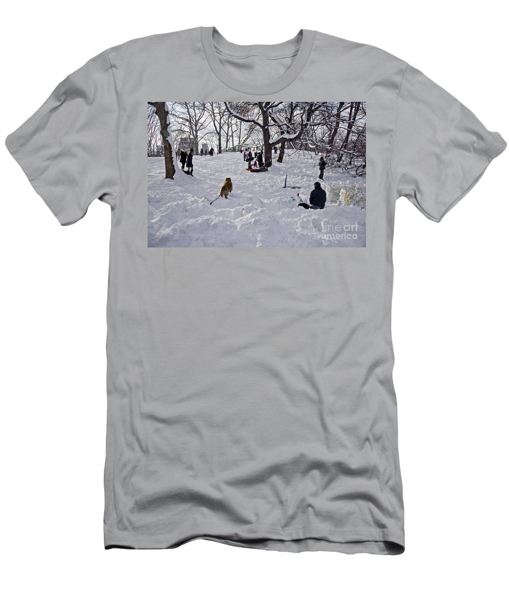 Snow Men's T-Shirt (Athletic Fit) featuring the photograph Snow Fun by Madeline Ellis