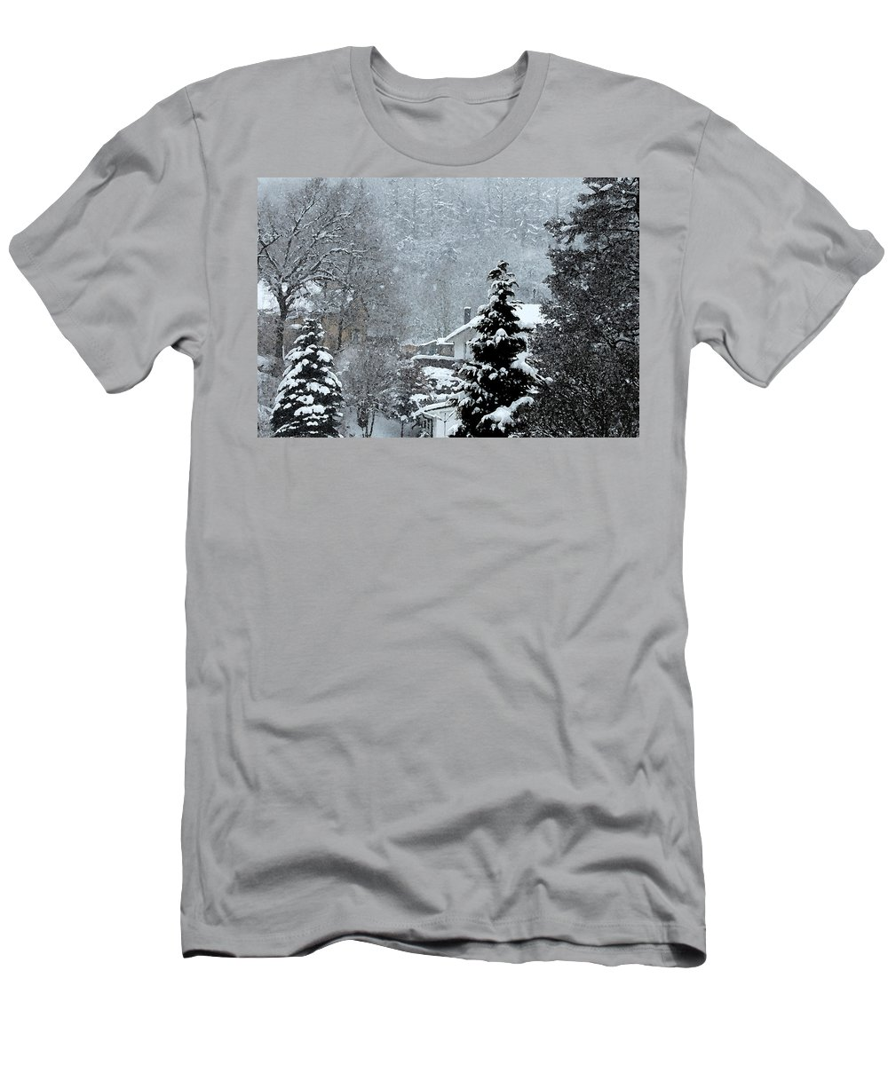 Landscape Of Snow Men's T-Shirt (Athletic Fit) featuring the photograph Snow Landscape by Gina Dsgn