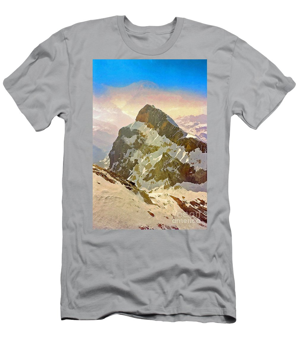 Switzerland Men's T-Shirt (Athletic Fit) featuring the photograph Snow Peaks Of Mount Titlis by Jost Houk