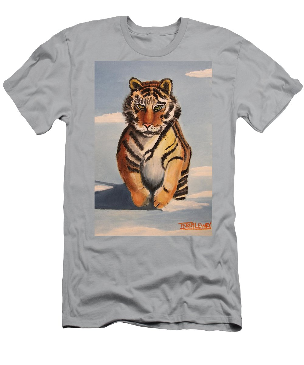 Tiger Cat Men's T-Shirt (Athletic Fit) featuring the painting Snow Tiger by Terry Lewey