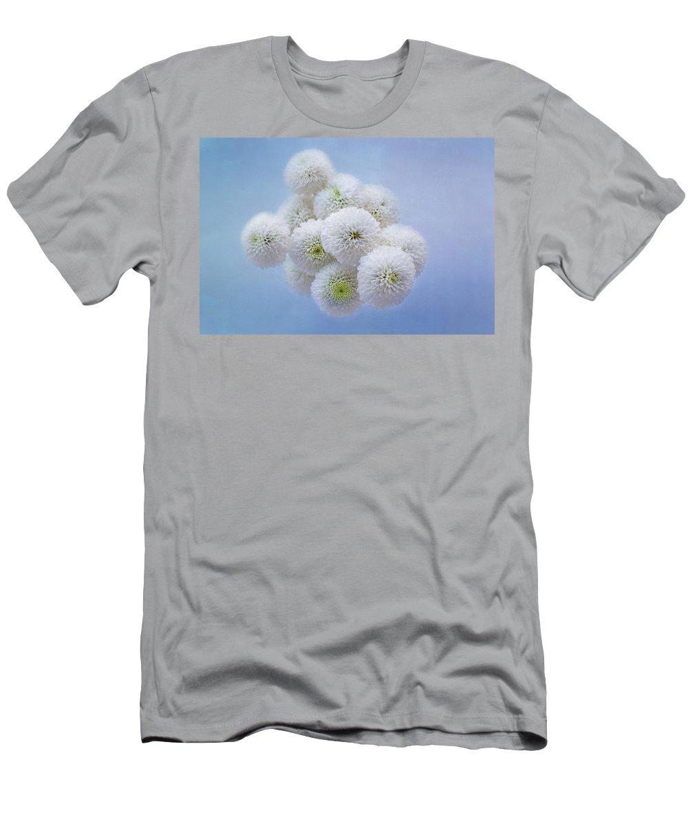 Flower Men's T-Shirt (Athletic Fit) featuring the photograph Snowballs-pom Mum by Kim Hojnacki