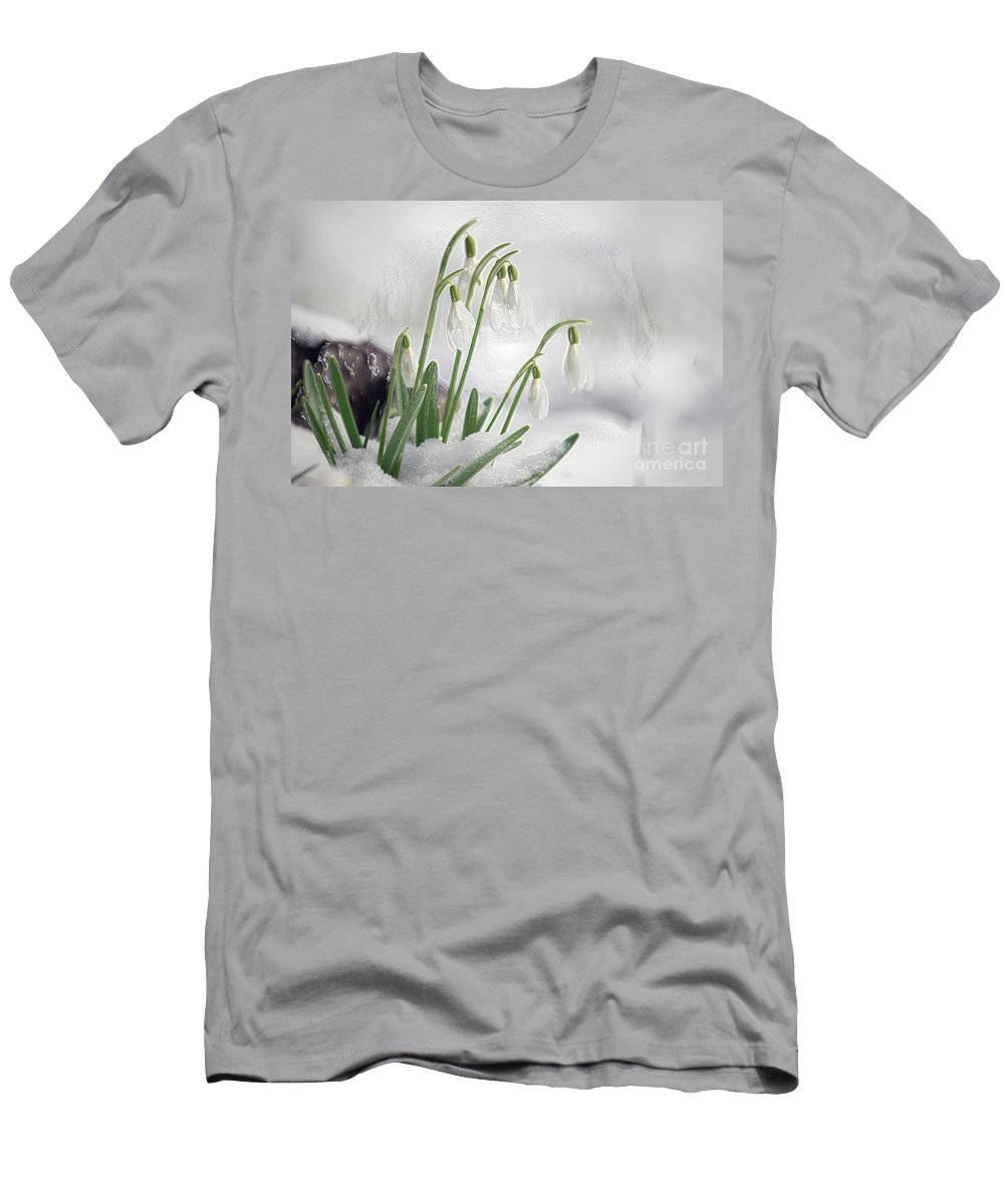 Snowdrops Men's T-Shirt (Athletic Fit) featuring the photograph Snowdrops On Ice by Sharon Talson