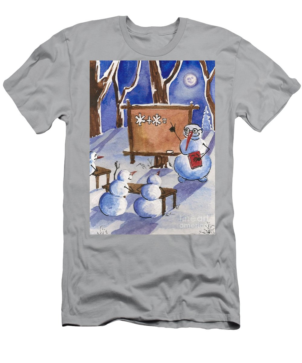 Painting Men's T-Shirt (Athletic Fit) featuring the painting Snowman University by Margaryta Yermolayeva