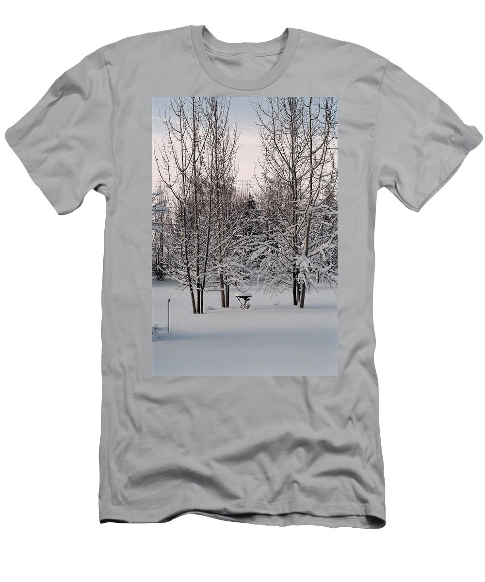 Winter Men's T-Shirt (Athletic Fit) featuring the photograph Snowy Bird Bath by Mike Wheeler