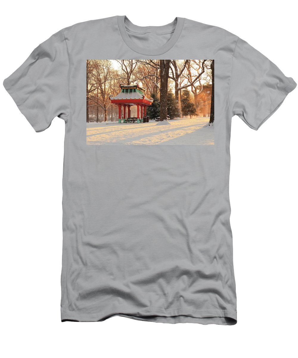 Tower Grove Men's T-Shirt (Athletic Fit) featuring the photograph Snowy Chinese Shelter by Scott Rackers