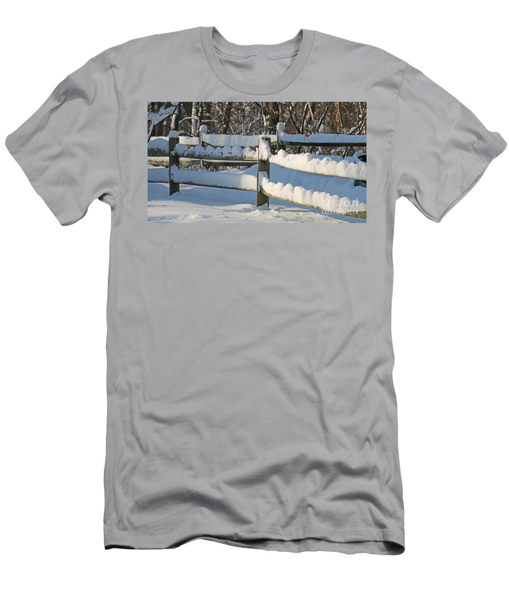 Snowy Fence Men's T-Shirt (Athletic Fit) featuring the photograph Snowy Fence by Jack Schultz