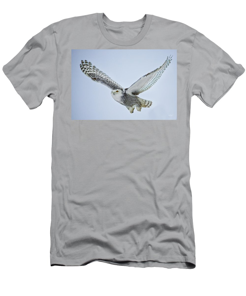 Snowy Owl Men's T-Shirt (Athletic Fit) featuring the photograph Snowy Owl In Flight by Everet Regal