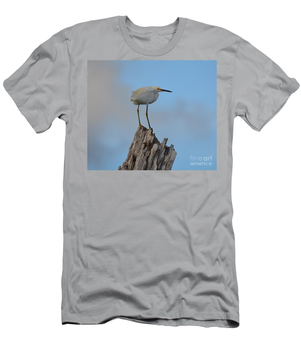 Snowy Men's T-Shirt (Athletic Fit) featuring the photograph Snowy Perched Against A Bright Blue Sky by Patricia Twardzik