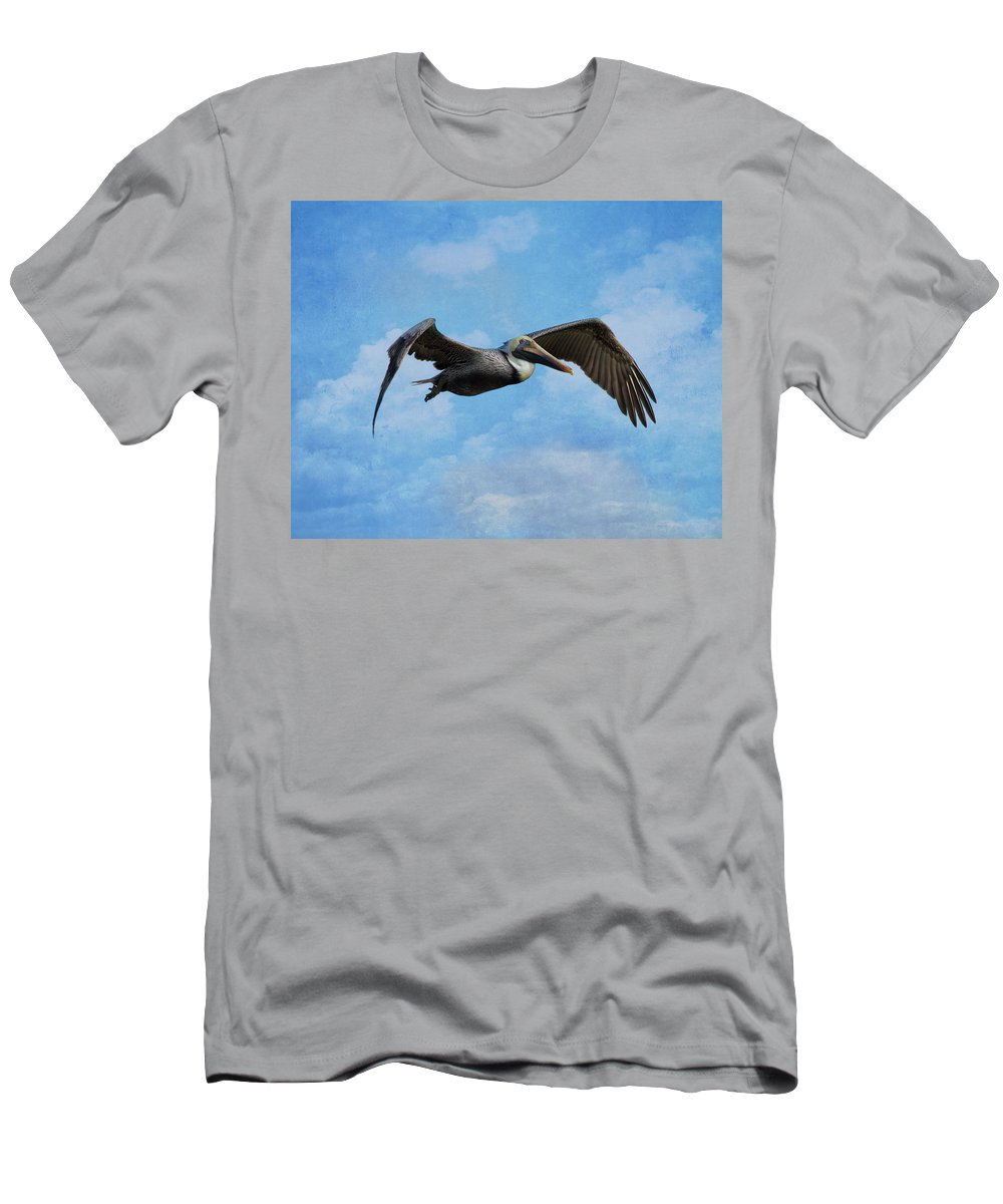 Pelican Men's T-Shirt (Athletic Fit) featuring the photograph Soaring By by Kim Hojnacki