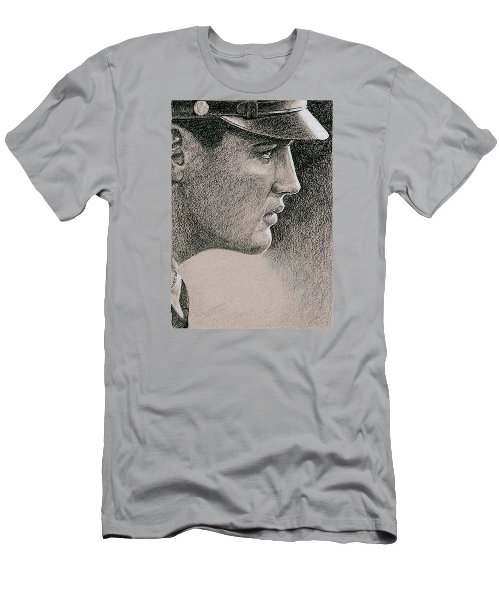 Elvis Men's T-Shirt (Athletic Fit) featuring the drawing Soldier Boy by Rob De Vries