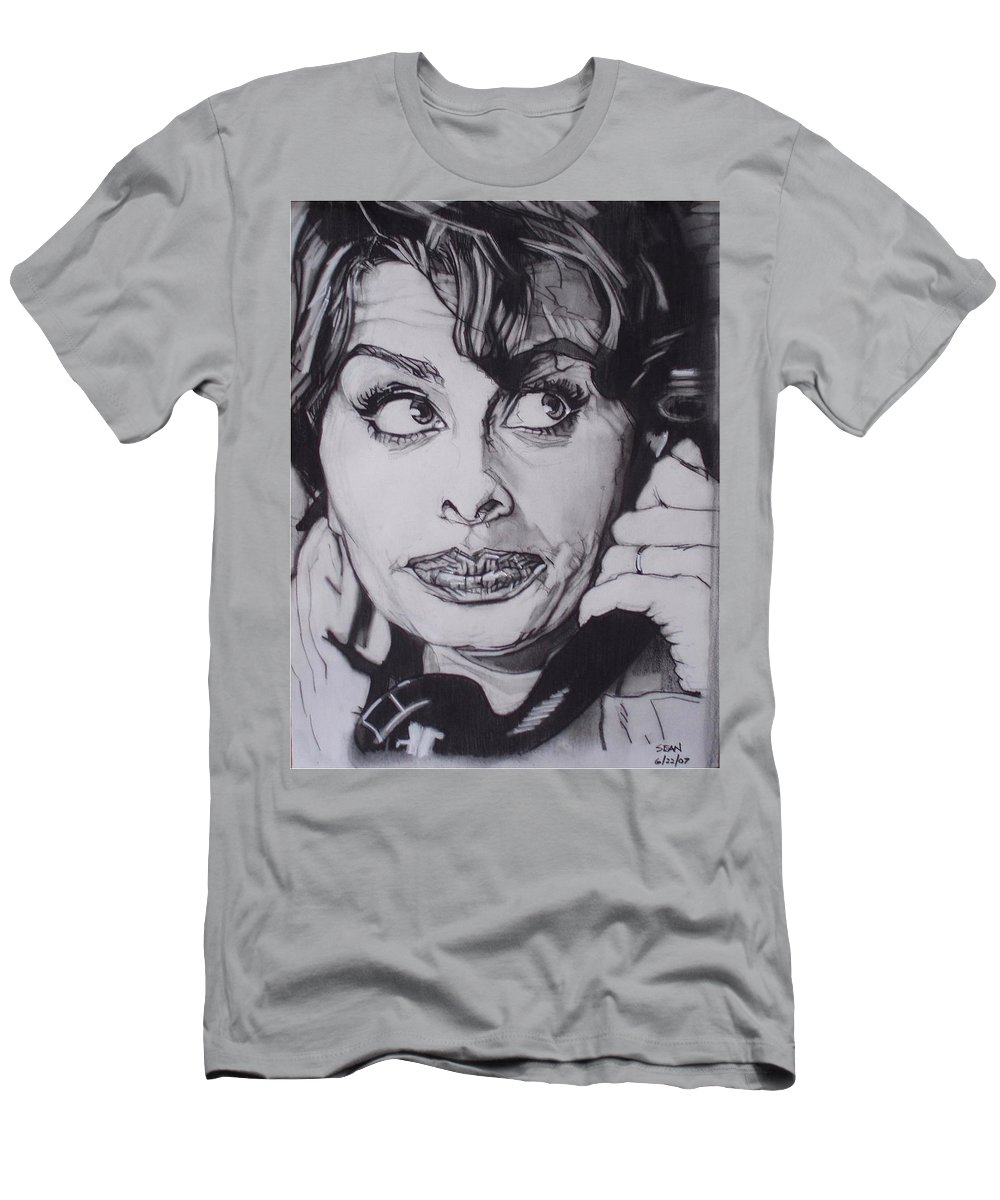 Charcoal;icon;actress;diva;italian;cat Eyes;beautiful;cute;adorable Men's T-Shirt (Athletic Fit) featuring the drawing Sophia Loren Telephones by Sean Connolly
