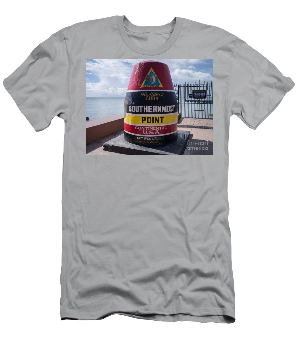 Atlantic Ocean Men's T-Shirt (Athletic Fit) featuring the photograph Southernmost Point Marker by Tracy Knauer