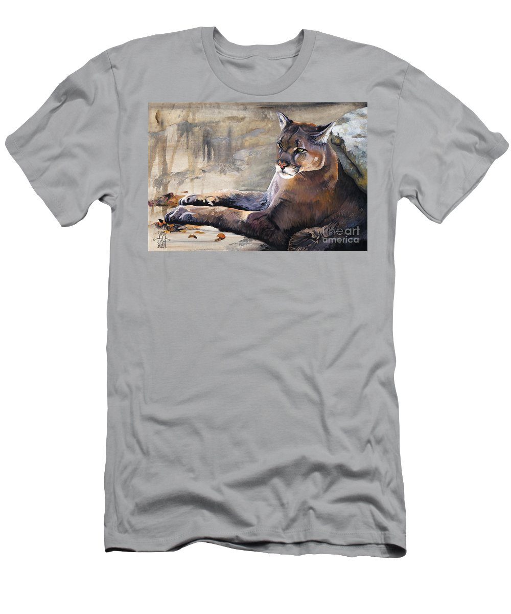 Cougar Men's T-Shirt (Athletic Fit) featuring the painting Sovereign by J W Baker