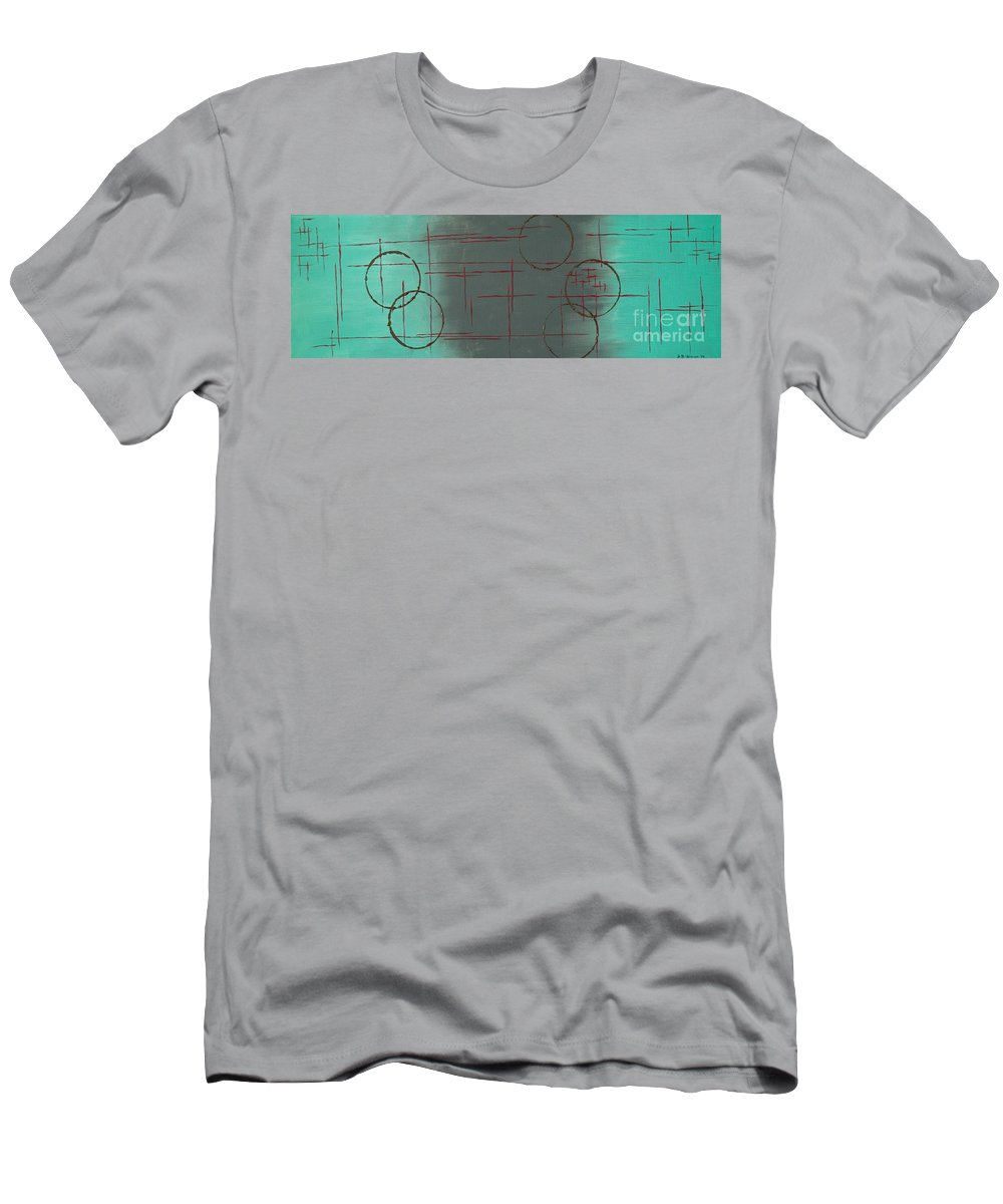 Space Men's T-Shirt (Athletic Fit) featuring the painting Space Configuration by Paulette B Wright