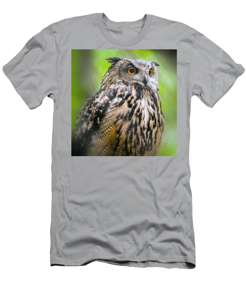 Animal Men's T-Shirt (Athletic Fit) featuring the photograph Spectacled Owl by Alex Grichenko