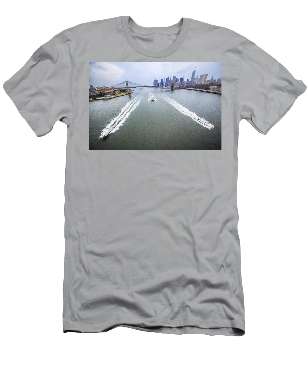Manhattan Men's T-Shirt (Athletic Fit) featuring the photograph Speed Boats And Barge At East River In Front Of The Brooklyn Bridge And Manhattan Skyline by Alex Potemkin