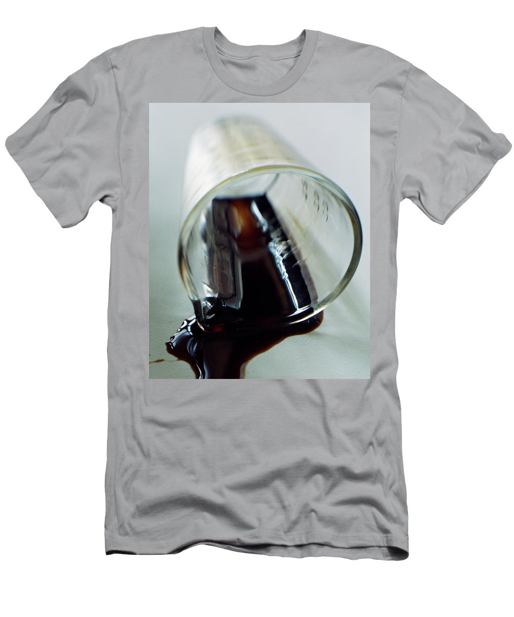 Food Men's T-Shirt (Athletic Fit) featuring the photograph Spilled Balsamic Vinegar by Romulo Yanes