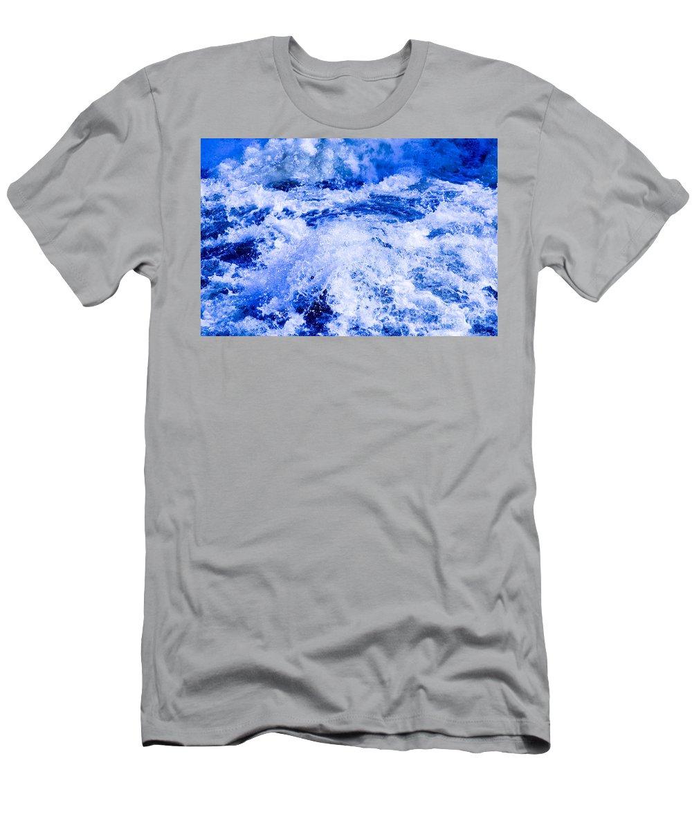 Splashing Men's T-Shirt (Athletic Fit) featuring the photograph Splashing Water In Rapid River by Kerstin Ivarsson
