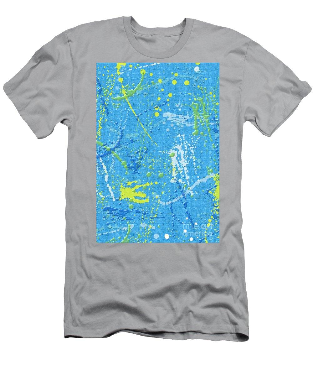 Blue Men's T-Shirt (Athletic Fit) featuring the digital art Splattering by Flamingo Graphix John Ellis