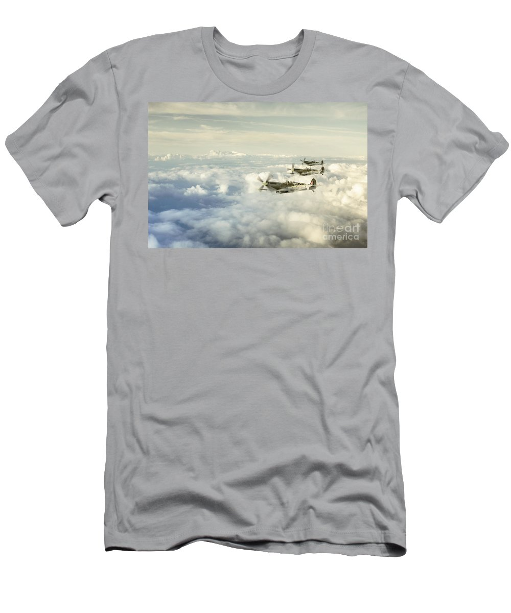 Supermarine Spitfire Men's T-Shirt (Athletic Fit) featuring the digital art Spring 1943 by J Biggadike