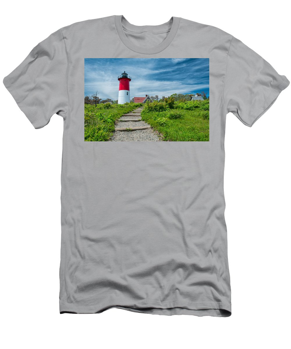 Cape Cod Men's T-Shirt (Athletic Fit) featuring the photograph Spring At Nauset Light by Michael Blanchette