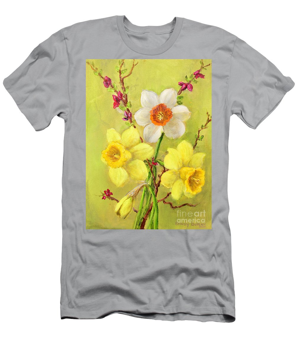 Spring Men's T-Shirt (Athletic Fit) featuring the painting Spring Flowers by Randy Burns