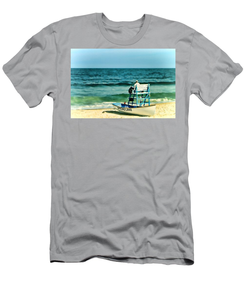 Lifeguard Men's T-Shirt (Athletic Fit) featuring the photograph Spring Lake by Olivier Le Queinec