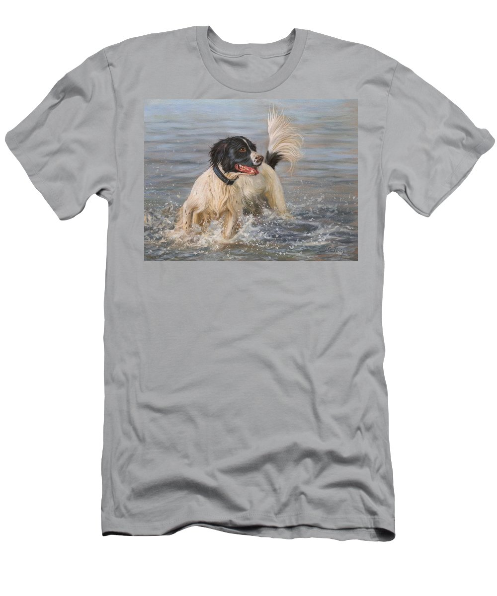 Springer Men's T-Shirt (Athletic Fit) featuring the painting Springer Spaniel by David Stribbling