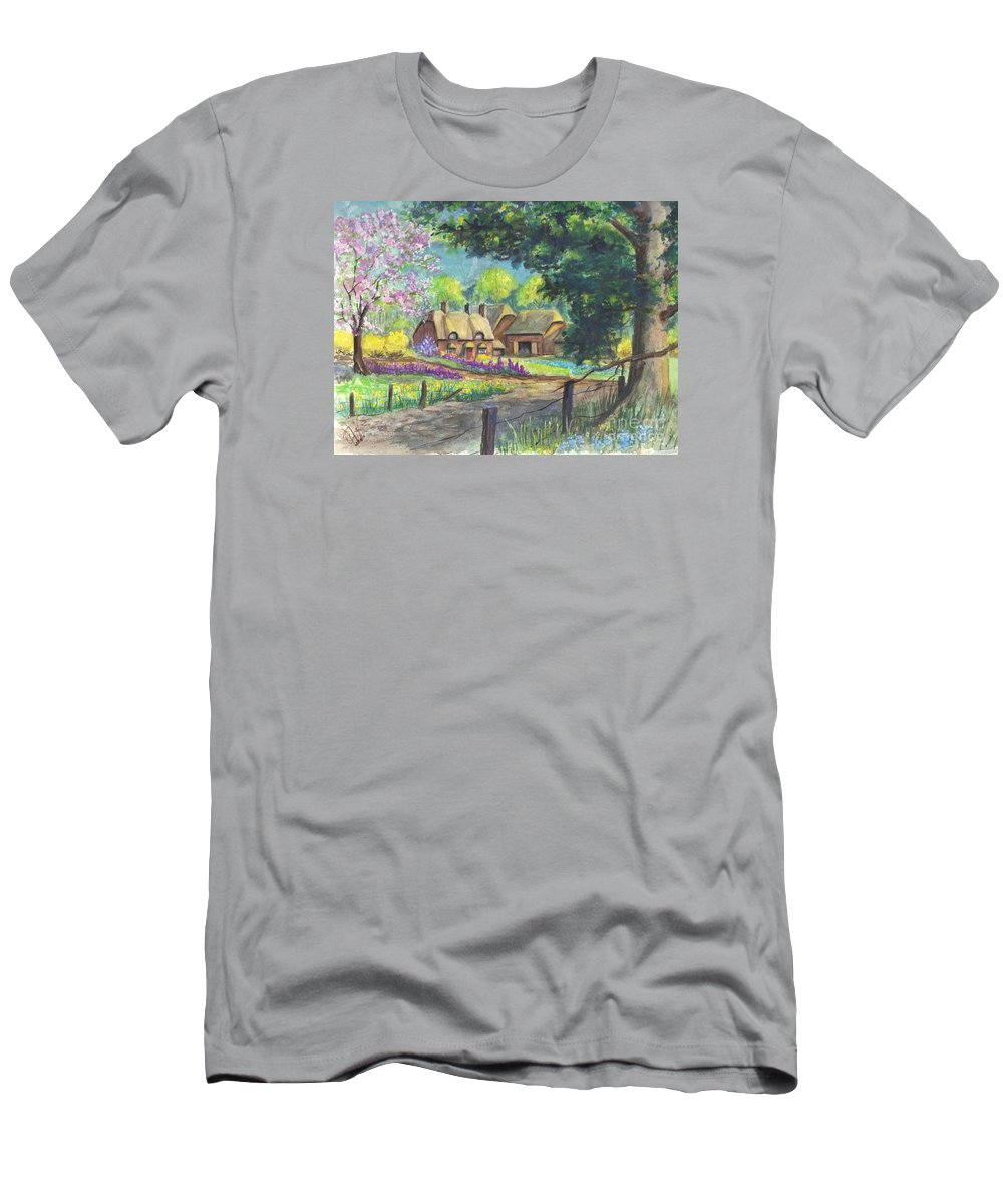 Hand Painted Men's T-Shirt (Athletic Fit) featuring the painting Springtime Cottage by Carol Wisniewski