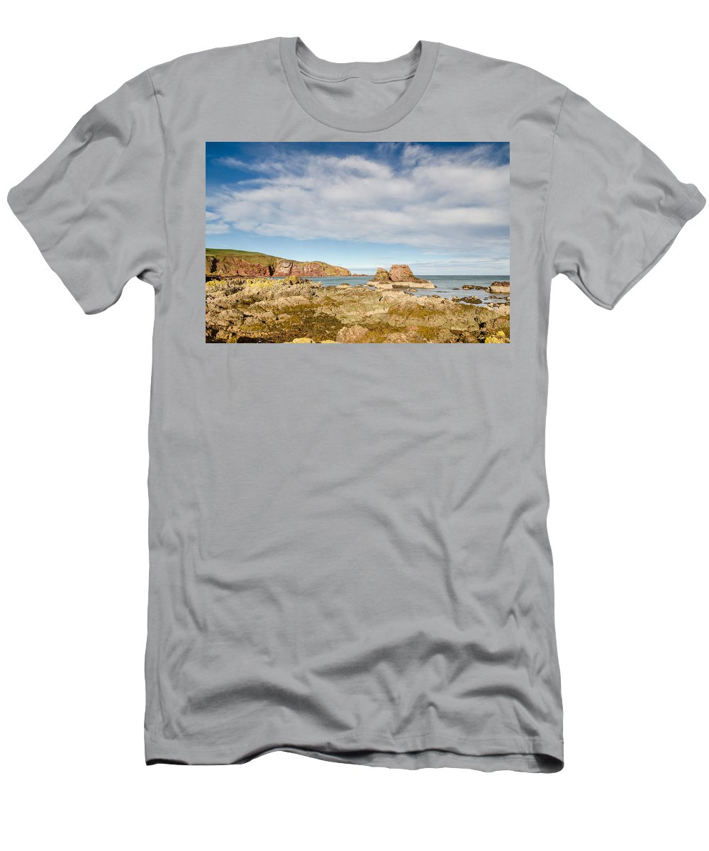 Bay Men's T-Shirt (Athletic Fit) featuring the photograph St Abbs Rocky Shoreline by David Head