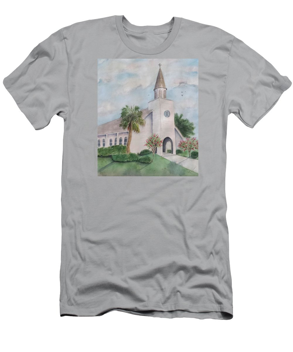 Destin Florida Church Palm Tree Coastal Men's T-Shirt (Athletic Fit) featuring the painting St. Andrews By The Sea by Carol Lindquist