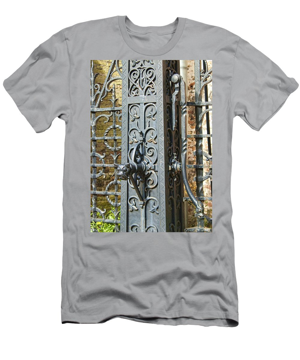 St. Gillis Well Pump Men's T-Shirt (Athletic Fit) featuring the photograph St. Gillis Well Pump by Phyllis Taylor