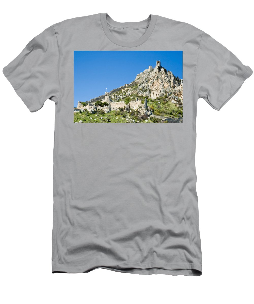 Cyprus Men's T-Shirt (Athletic Fit) featuring the photograph St Hilarion Castle by Jeremy Voisey