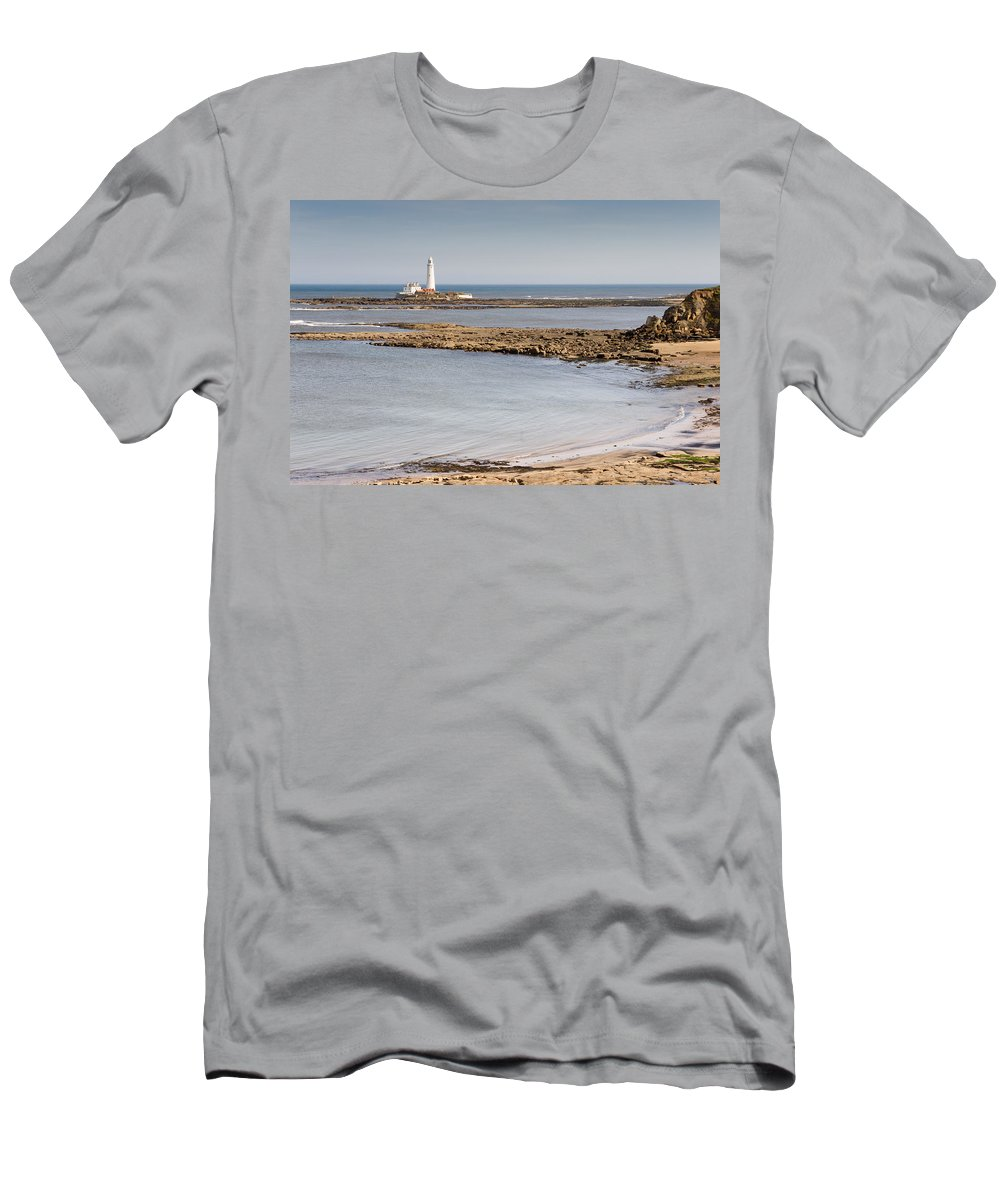 St Marys Lighthouse Men's T-Shirt (Athletic Fit) featuring the photograph St Marys Lighthouse Across Sandy Bay by David Head