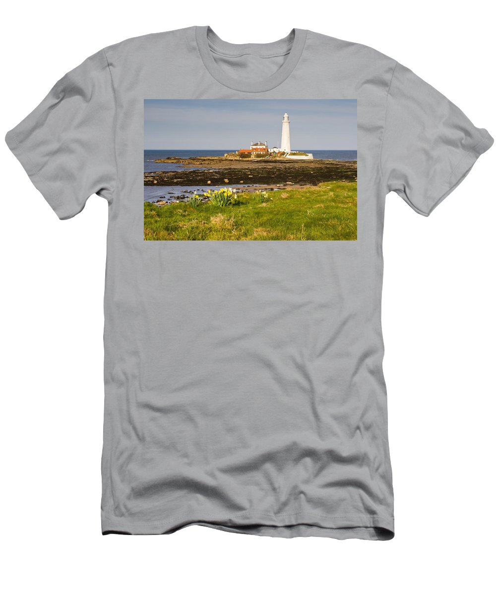 St Marys Lighthouse Men's T-Shirt (Athletic Fit) featuring the photograph St Marys Lighthouse With Daffodils by David Head