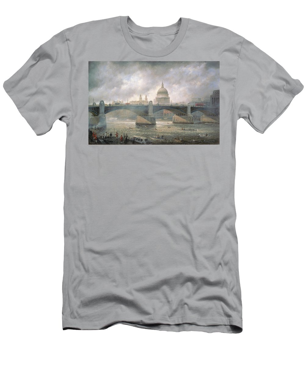Thames Men's T-Shirt (Athletic Fit) featuring the painting St. Paul's Cathedral From The Southwark Bank by Richard Willis