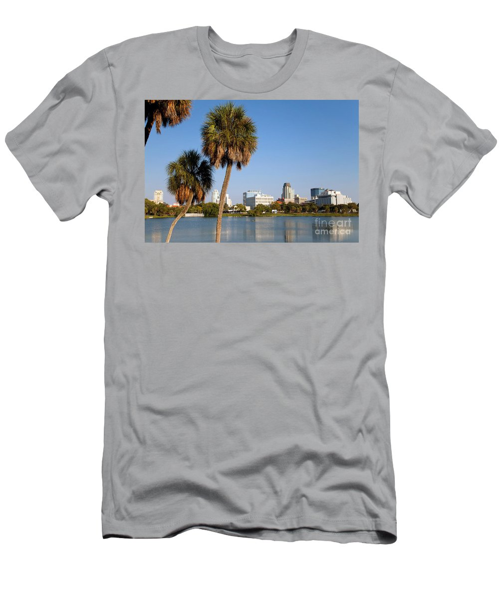 Florida Men's T-Shirt (Athletic Fit) featuring the photograph St Petersburg Florida From Mirror Lake Park by Bill Cobb