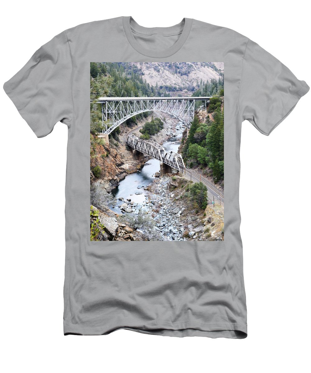 Stacked Men's T-Shirt (Athletic Fit) featuring the photograph Stacked Bridges by Holly Blunkall