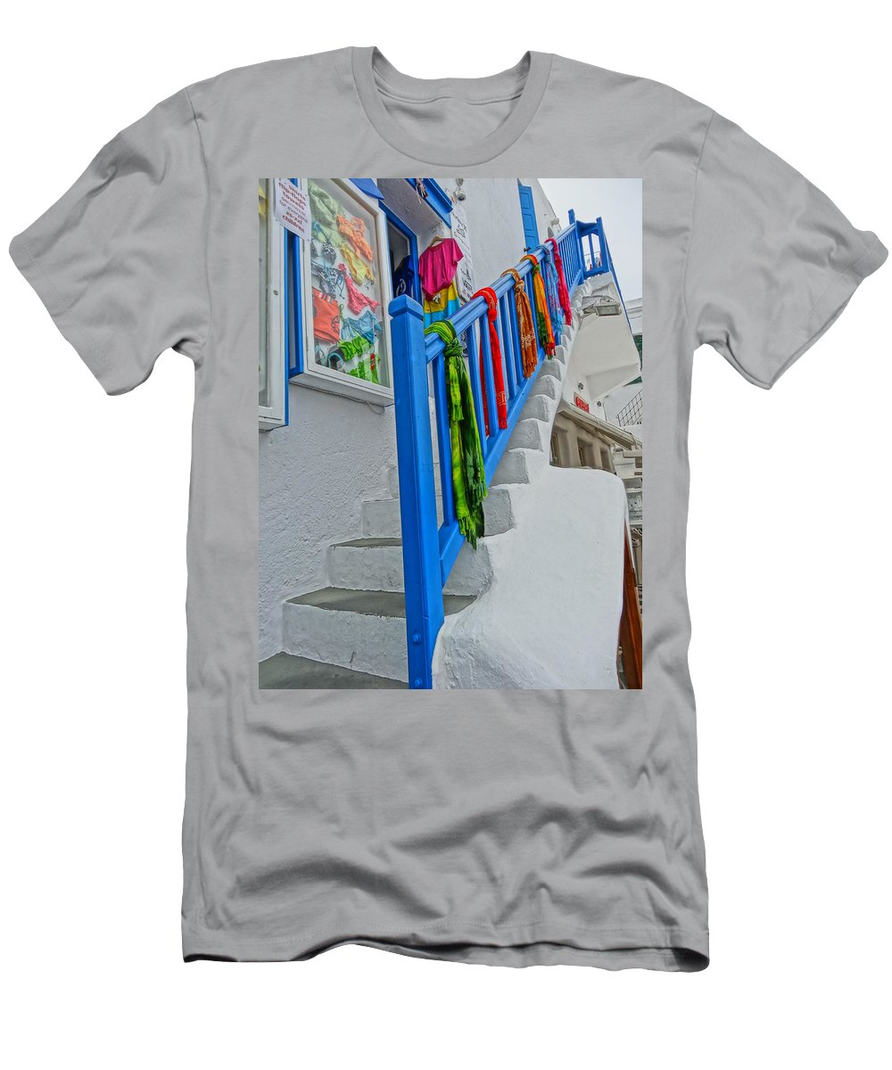 Mykonos Men's T-Shirt (Athletic Fit) featuring the photograph Stairs With Blue Railing In Mykonos Greece by M Bleichner