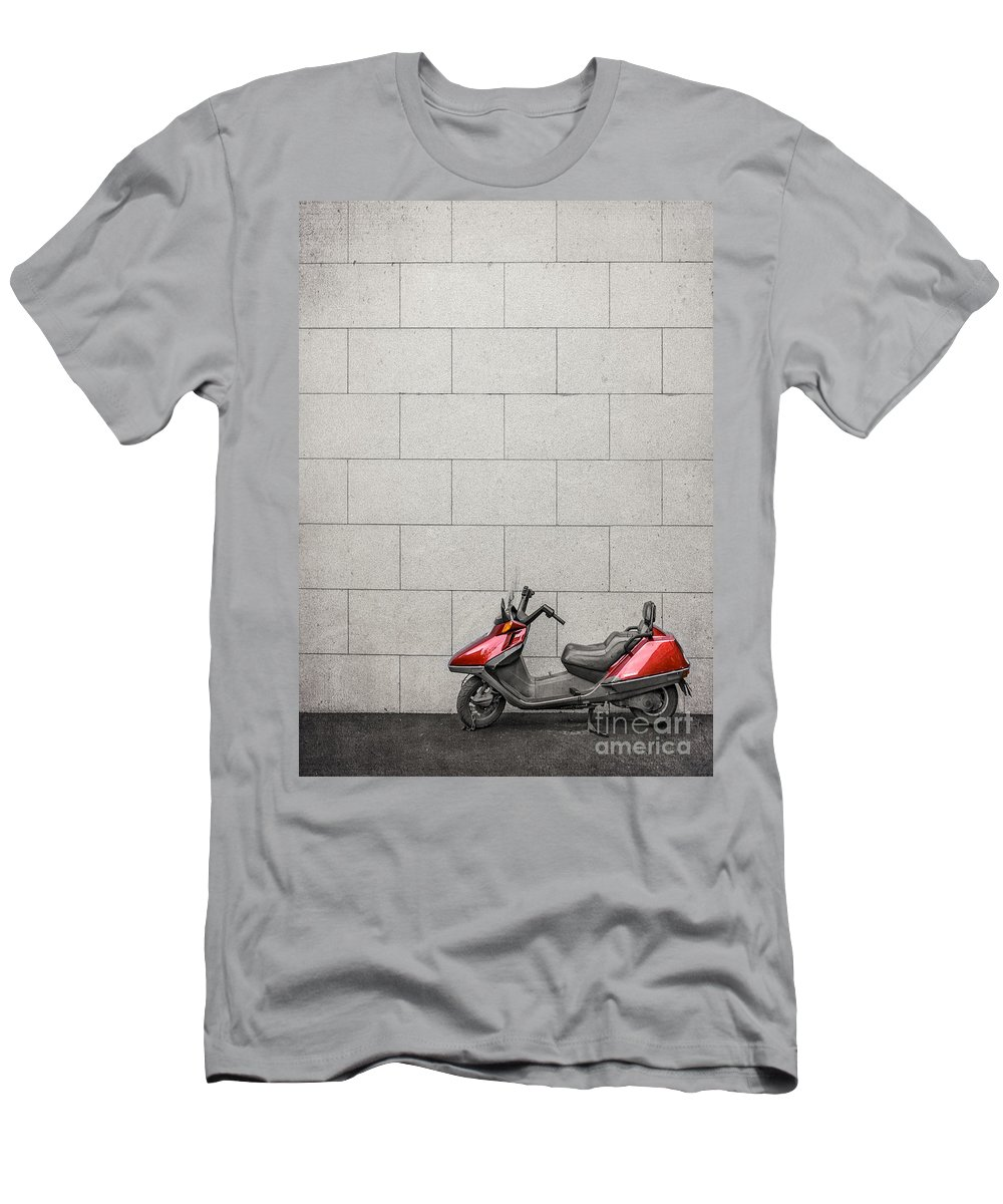 Moped Men's T-Shirt (Athletic Fit) featuring the photograph Stand Your Ground by Evelina Kremsdorf