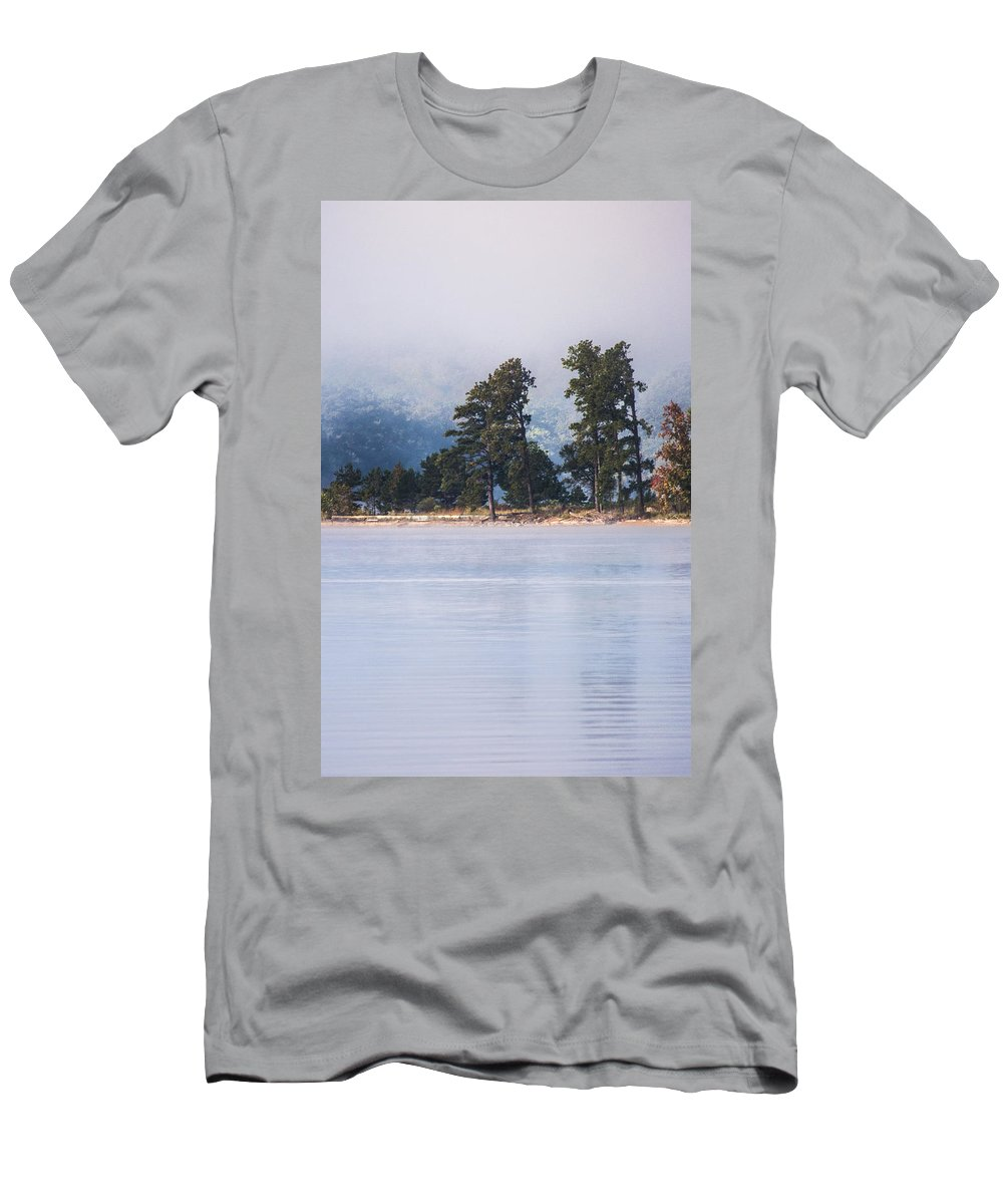 Foggy Landscape Men's T-Shirt (Athletic Fit) featuring the photograph Standing Strong by Parker Cunningham