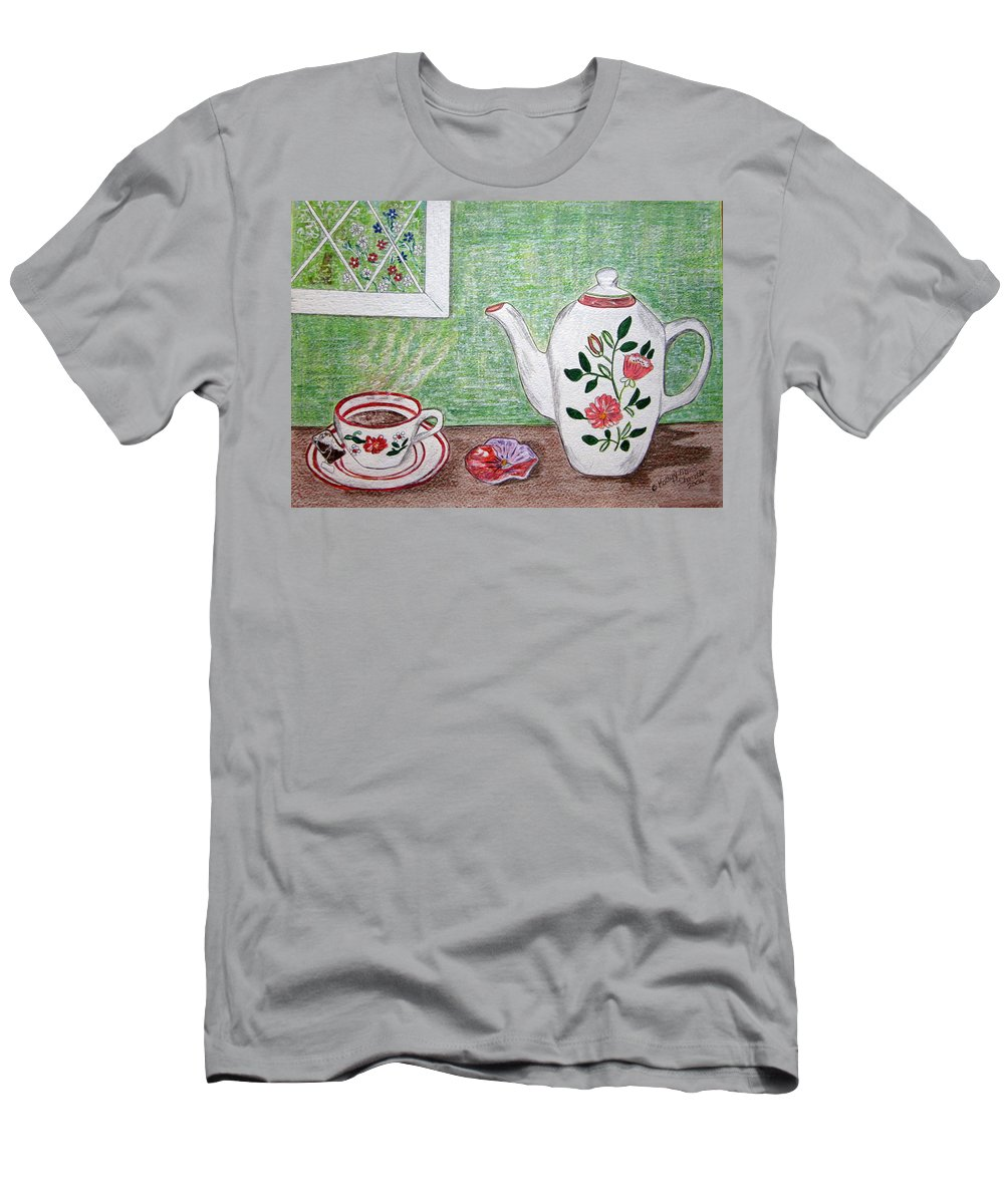 Stangl Pottery Men's T-Shirt (Athletic Fit) featuring the painting Stangl Pottery Rose Pattern by Kathy Marrs Chandler