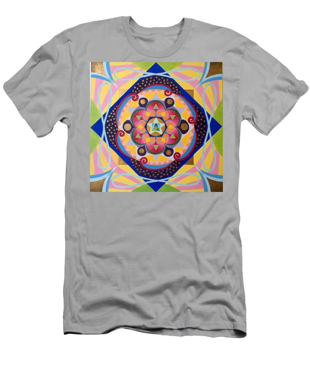 Mandala Men's T-Shirt (Athletic Fit) featuring the painting Star Mandala by Anne Cameron Cutri
