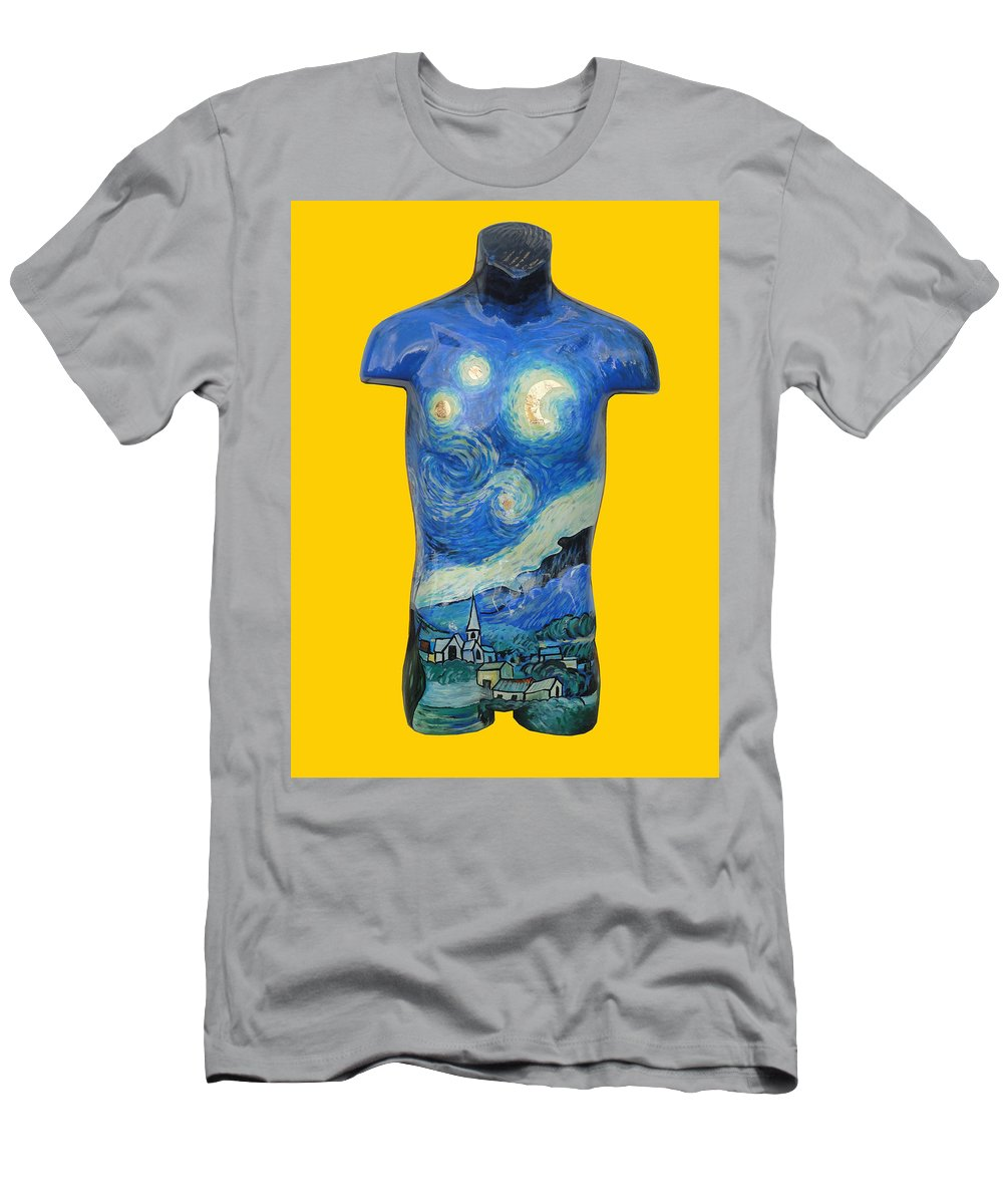 Starry Night Men's T-Shirt (Athletic Fit) featuring the painting Starry Night by Gary Hogben