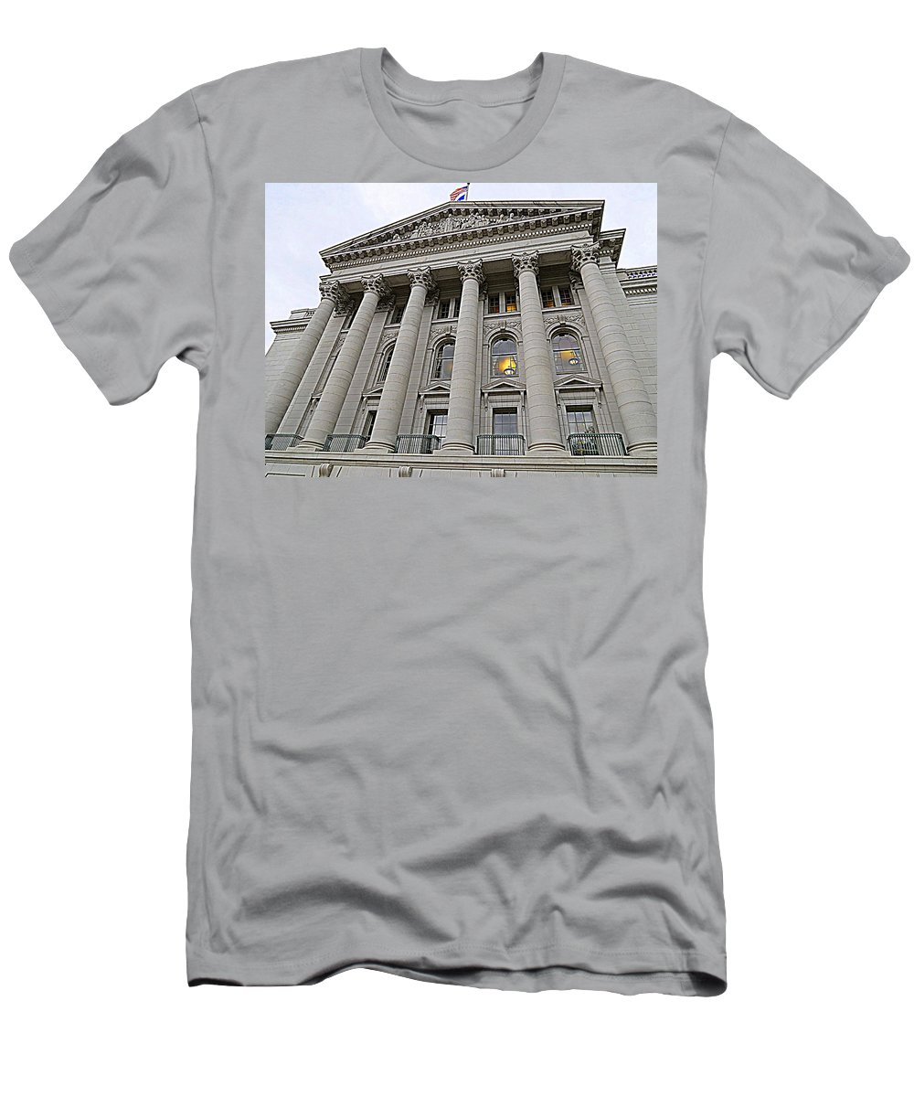State Men's T-Shirt (Athletic Fit) featuring the photograph State Capitol Madison Wisconsin by Kay Novy