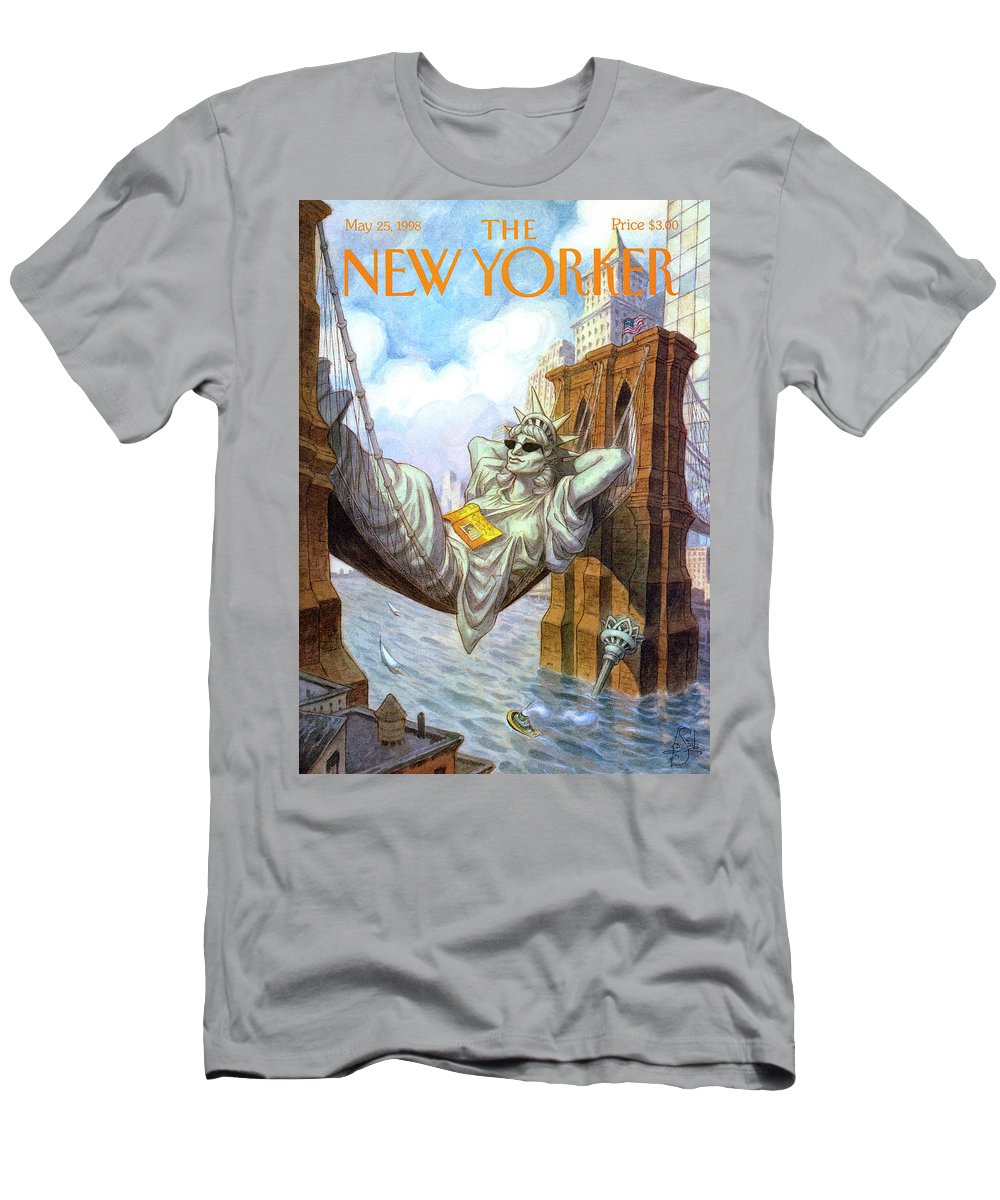 Liberty T-Shirt featuring the painting Statue Of Liberty Lounges Between The Brooklyn by Peter de Seve