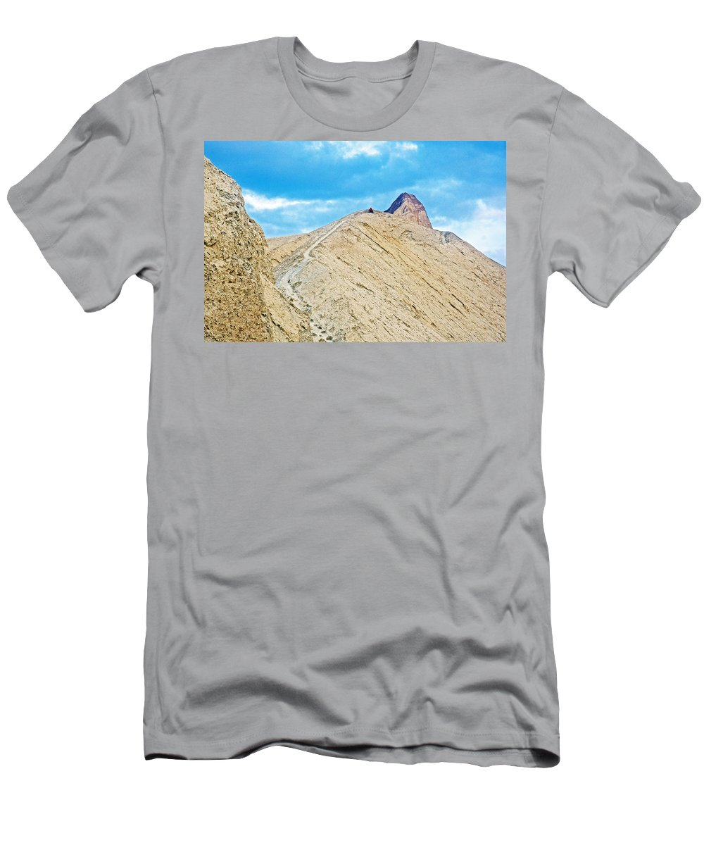 Steep Trail To Manly Beacon From Golden Canyon In Death Valley National Park Men's T-Shirt (Athletic Fit) featuring the photograph Steep Trail To Manly Beacon From Golden Canyon In Death Valley National Park-california by Ruth Hager