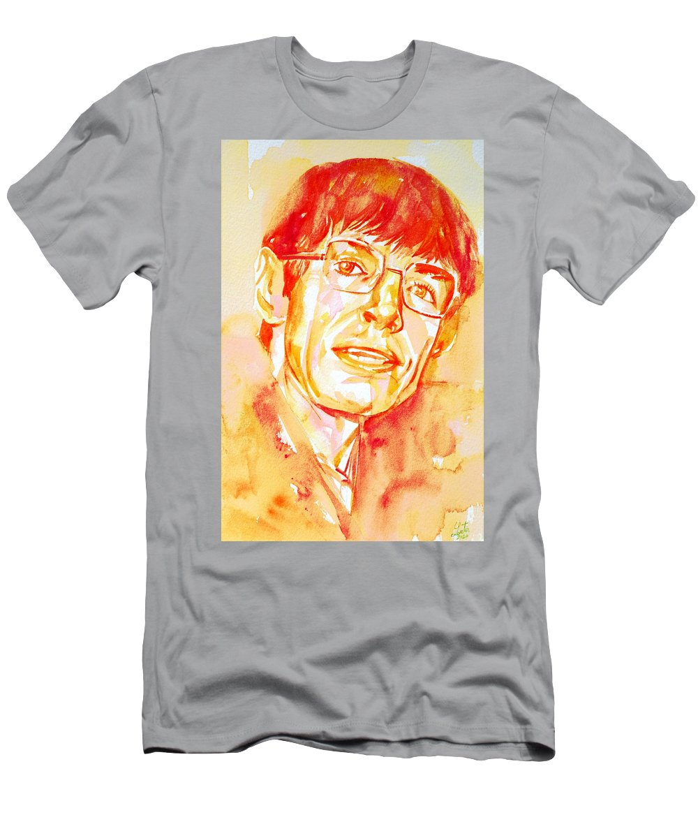 Stephen Men's T-Shirt (Athletic Fit) featuring the painting Stephen Hawking Portrait by Fabrizio Cassetta