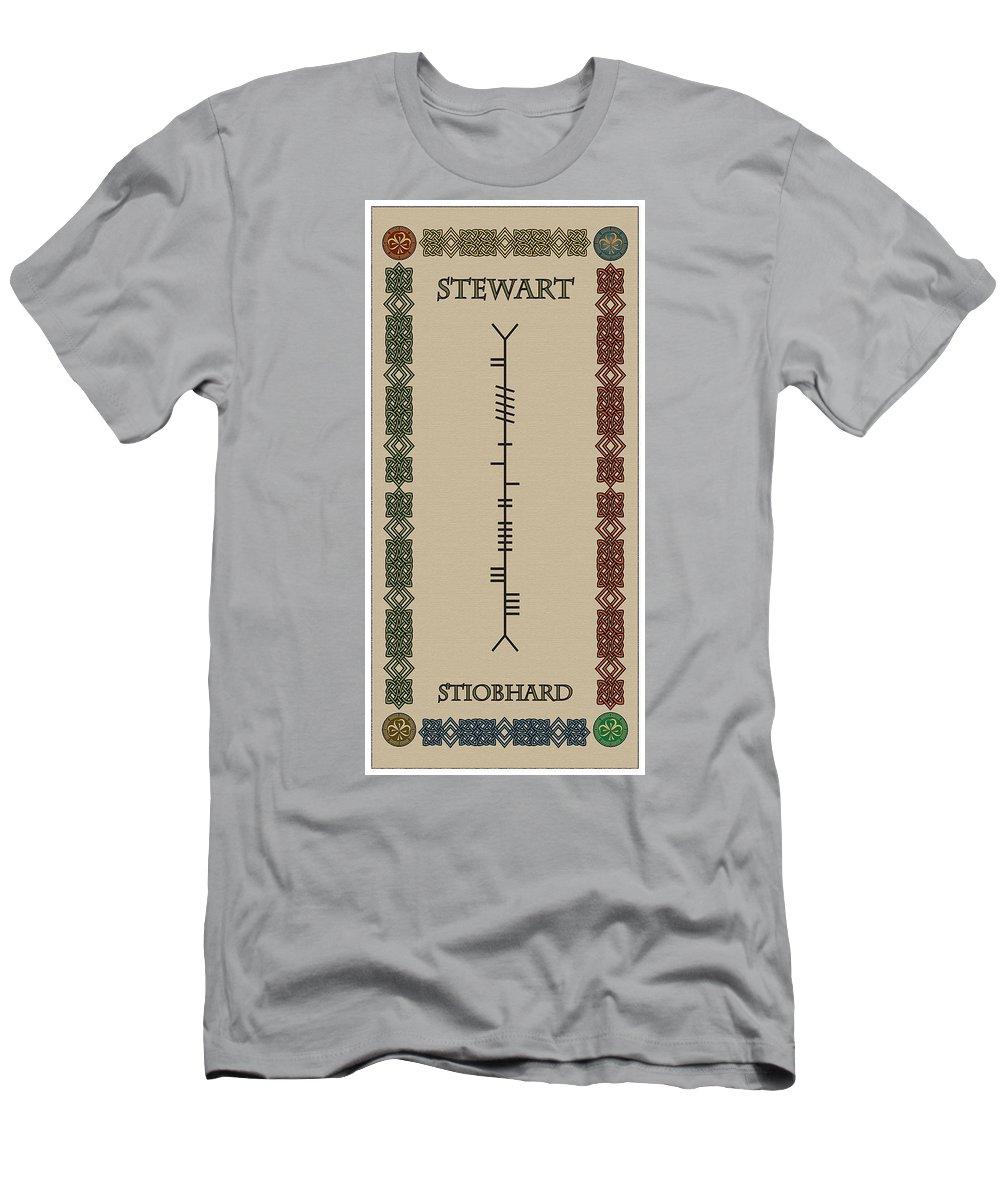 Stewart Men's T-Shirt (Athletic Fit) featuring the digital art Stewart Written In Ogham by Ireland Calling